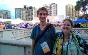 IMaRS lab members attending the opening reception on the Hawaiian Convention Center rooftop garden terrace (other IMaRS attendees lost in the sea of networking), Tylar Murray and Savannah Hartman