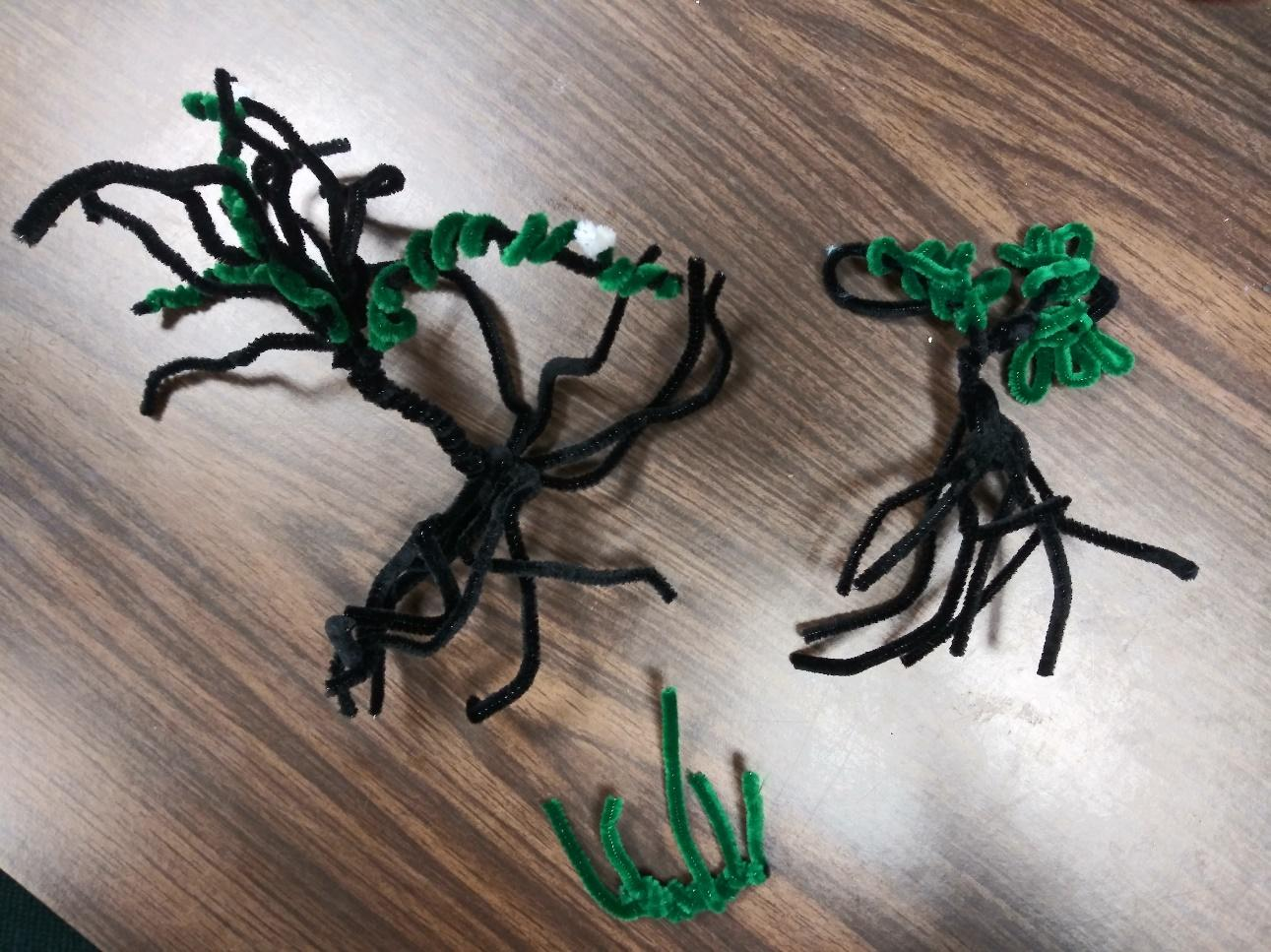 Week Two: Plankton, Plants, & Pipe Cleaners! - Mangroves and seagrass made from pipe cleaners.