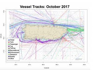 Ship tracks near Puerto Rico in October 2017
