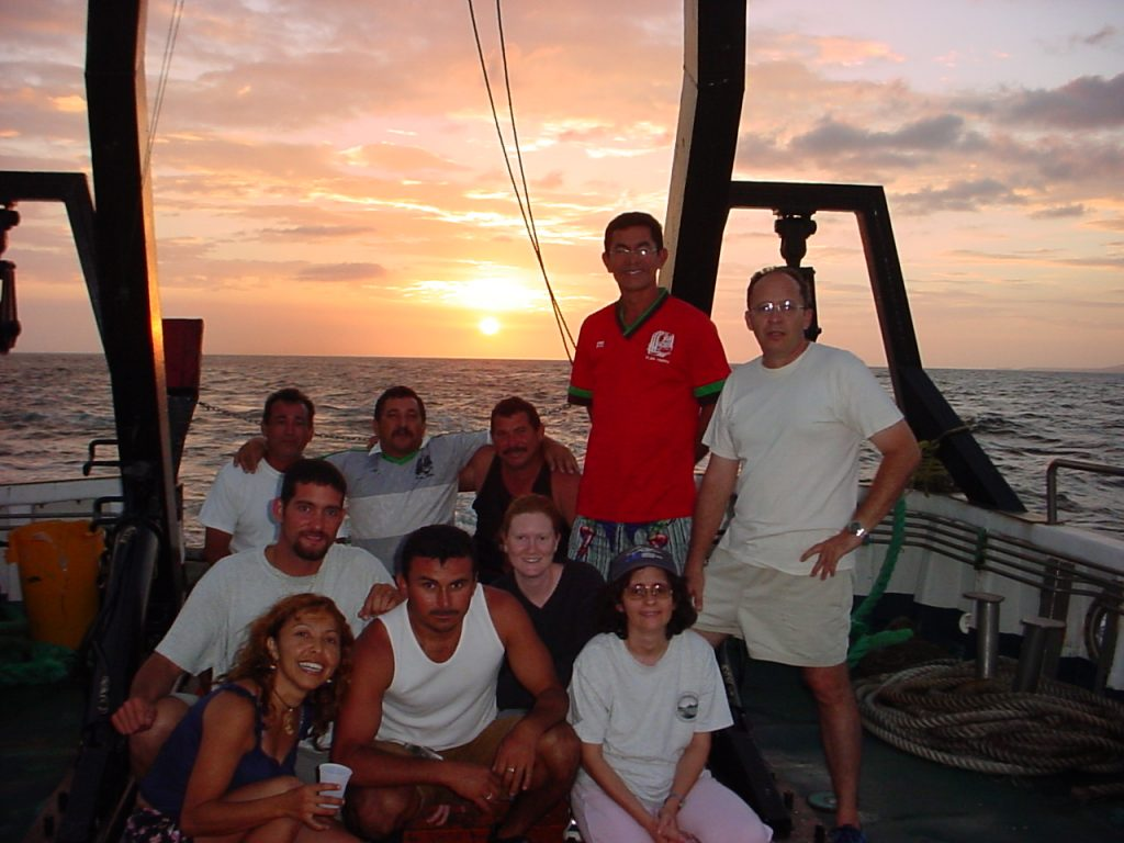 The sun sets on the 21-year CARIACO Ocean Time Series program, which was led by scientists from the U.S. and Venezuela and involved more than 100 researchers from the around the globe. Shown in the photo: Ramón Varela (Co-PI, EDIMAR/FLASA), Yrene Astor (Co-PI, EDIMAR/FLASA), José (Chuchú) Narváez (EDIMAR/FLASA), Aitzol Arellano (EDIMAR/FLASA), Michael McIntyre (USF/U.S.), Glenda Arias (EDIMAR/FLASA), Aparicio Narváez (First Officer), Maxi (crew), German Marin (Chef), and Julio (crew).