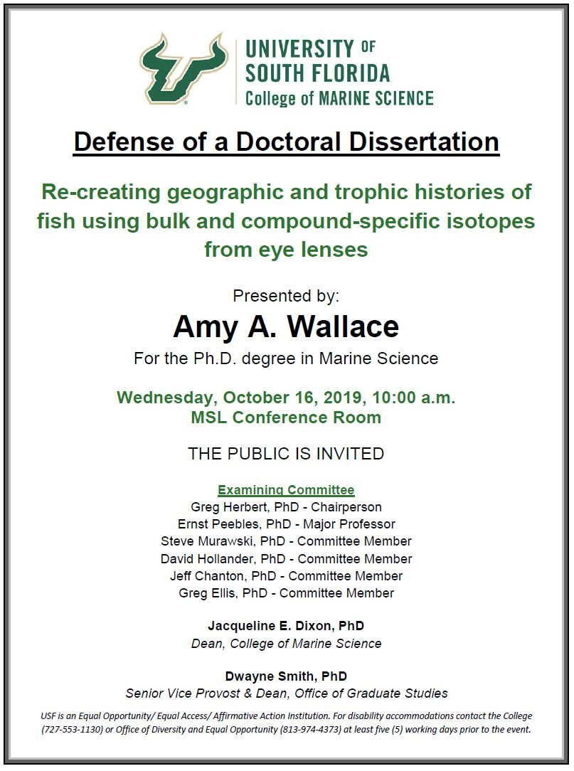 Amy A. Wallace, For the Ph.D. degree in Marine Science