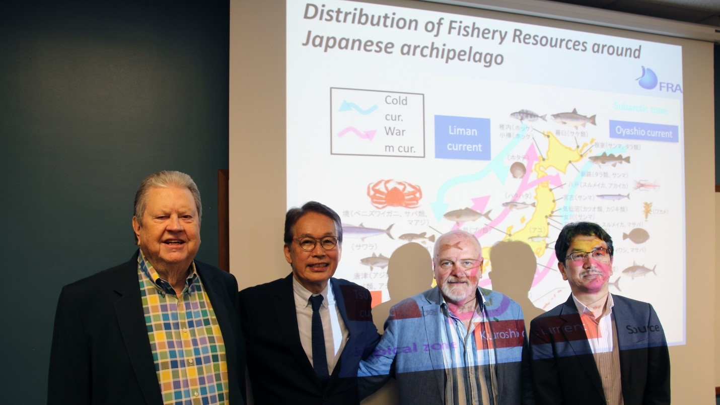 Bill Hogarth, Masanori Miyahara, Steve Murawski and Hideki Nakano. Dr. Miyahara presented the current status of Japanese fisheries as he seeks collaboration from scientists in foreign countries who have prior experience with declining fish stocks.