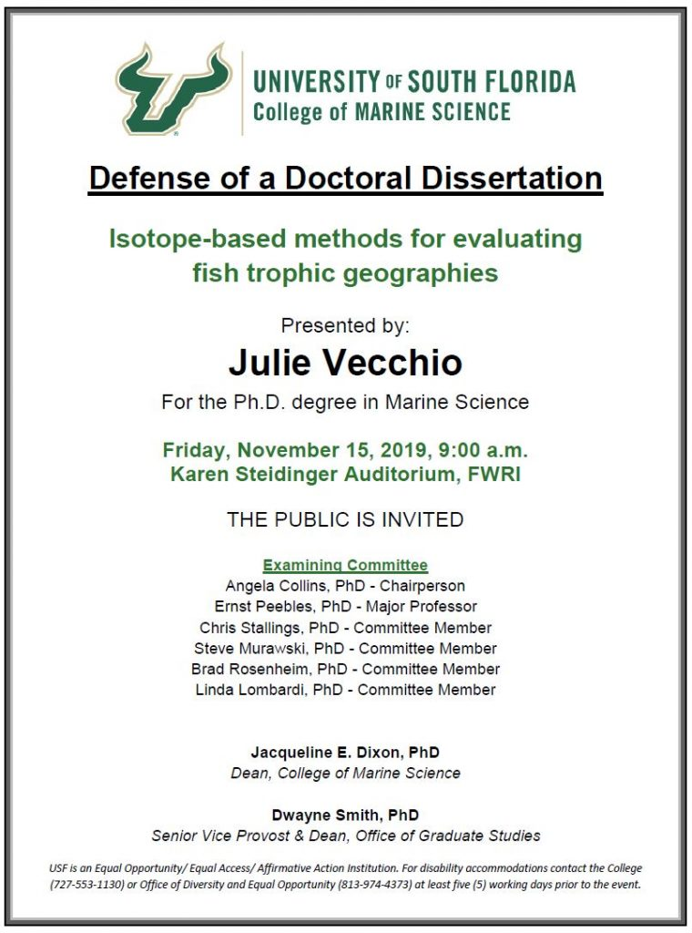 Julie Vecchio USF College of Marine Science, Defense of a Doctoral Dissertation