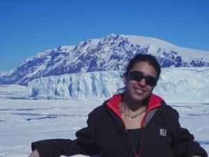 Former USF CMS student Dr. Cristina Subt in Antarctica aboard Korean ice breaker R/V I/B Araon.