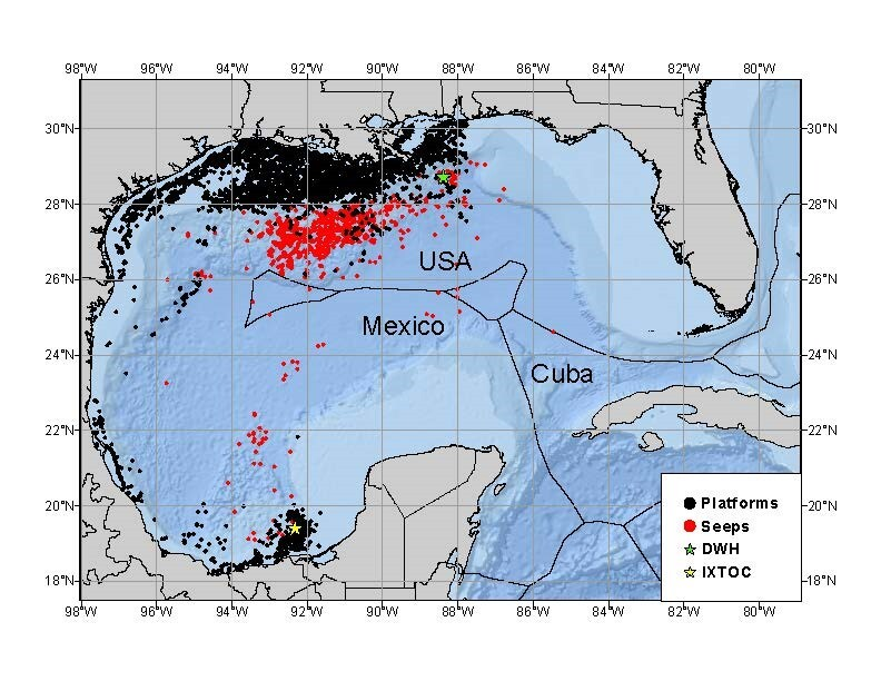 The black dots indicated oil and gas infrastructure, and red dots indicate natural oil seeps. The green star is the site of the Deepwater Horizon oil spill in 2010, and the yellow star is where the 1979 Ixtoc 1 oil spill occurred. These were the two largest oil spills to date in the Gulf of Mexico.