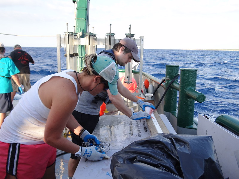 7. Once a fish is onboard, the team measures the length of all fish. (Shown here are Dr. David Portnoy and Dr. Amy Wallace)