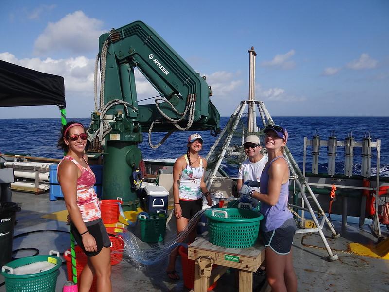 5. Next the team baits the hooks. (From left to right: Susan Snyder, Kristina Deak, Dr. Joel Ortega-Ortiz, and Dr. Elizabeth Herdter).