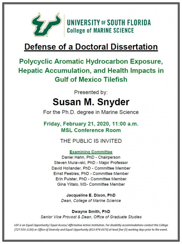 Susan M. Snyder, Defense of a Doctoral Dissertation
