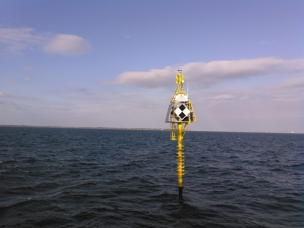 GeoStatic Spar Buoy deployed at the mouth of Tampa Bay near Egmont Key, July 2018.