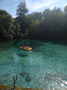 The USF CMS team, whose field and lab work was led by USF PhD student Kema Malki, used an inflatable raft to retrieve samples in May-June 2017 from five springs across northern Florida.In the raft are Malki and USF St. Petersburg student Paige Boleman taking samples at Ichetucknee Springs.