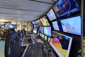 The Control Room on the Falkor, from which pilots operate the ROV SuBastianas guided by a team of scientists.